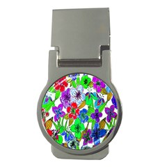 Background Of Hand Drawn Flowers With Green Hues Money Clips (Round)