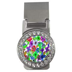 Background Of Hand Drawn Flowers With Green Hues Money Clips (CZ)