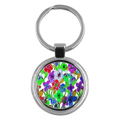 Background Of Hand Drawn Flowers With Green Hues Key Chains (Round)