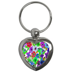 Background Of Hand Drawn Flowers With Green Hues Key Chains (Heart)