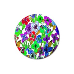 Background Of Hand Drawn Flowers With Green Hues Magnet 3  (round)