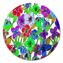 Background Of Hand Drawn Flowers With Green Hues Magnet 5  (Round)