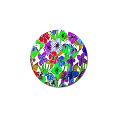 Background Of Hand Drawn Flowers With Green Hues Golf Ball Marker