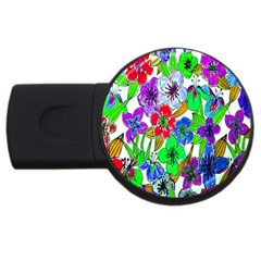 Background Of Hand Drawn Flowers With Green Hues USB Flash Drive Round (2 GB)