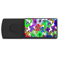 Background Of Hand Drawn Flowers With Green Hues USB Flash Drive Rectangular (2 GB)