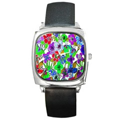 Background Of Hand Drawn Flowers With Green Hues Square Metal Watch