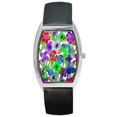 Background Of Hand Drawn Flowers With Green Hues Barrel Style Metal Watch