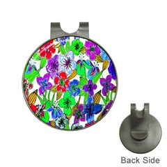 Background Of Hand Drawn Flowers With Green Hues Hat Clips With Golf Markers