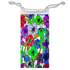 Background Of Hand Drawn Flowers With Green Hues Jewelry Bag