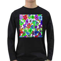 Background Of Hand Drawn Flowers With Green Hues Long Sleeve Dark T-Shirts