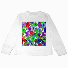 Background Of Hand Drawn Flowers With Green Hues Kids Long Sleeve T Shirts