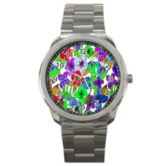 Background Of Hand Drawn Flowers With Green Hues Sport Metal Watch