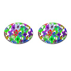 Background Of Hand Drawn Flowers With Green Hues Cufflinks (oval)
