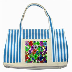 Background Of Hand Drawn Flowers With Green Hues Striped Blue Tote Bag