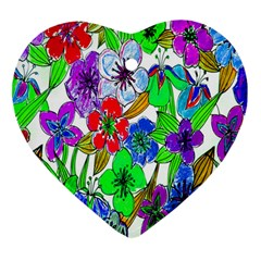 Background Of Hand Drawn Flowers With Green Hues Heart Ornament (two Sides)