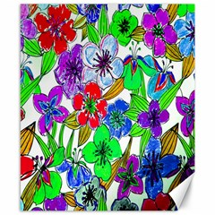 Background Of Hand Drawn Flowers With Green Hues Canvas 8  x 10