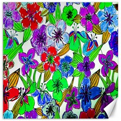 Background Of Hand Drawn Flowers With Green Hues Canvas 20  x 20