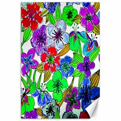 Background Of Hand Drawn Flowers With Green Hues Canvas 20  x 30