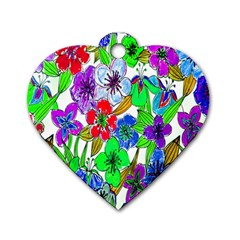 Background Of Hand Drawn Flowers With Green Hues Dog Tag Heart (Two Sides)