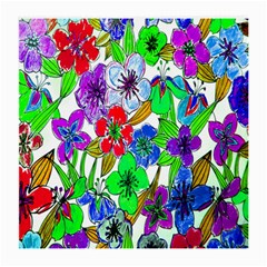 Background Of Hand Drawn Flowers With Green Hues Medium Glasses Cloth (2-Side)