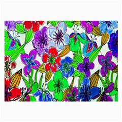 Background Of Hand Drawn Flowers With Green Hues Large Glasses Cloth