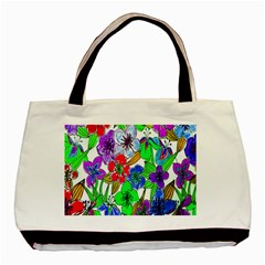 Background Of Hand Drawn Flowers With Green Hues Basic Tote Bag (Two Sides)