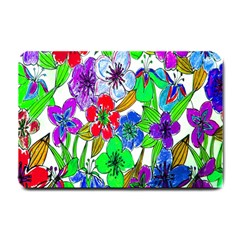 Background Of Hand Drawn Flowers With Green Hues Small Doormat