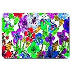 Background Of Hand Drawn Flowers With Green Hues Large Doormat