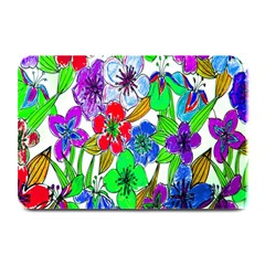 Background Of Hand Drawn Flowers With Green Hues Plate Mats