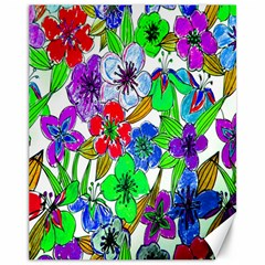 Background Of Hand Drawn Flowers With Green Hues Canvas 11  X 14