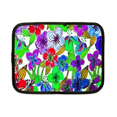 Background Of Hand Drawn Flowers With Green Hues Netbook Case (Small)
