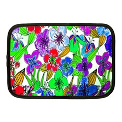 Background Of Hand Drawn Flowers With Green Hues Netbook Case (Medium)