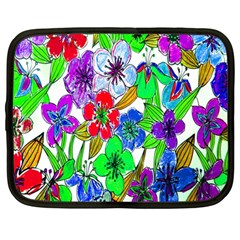 Background Of Hand Drawn Flowers With Green Hues Netbook Case (Large)