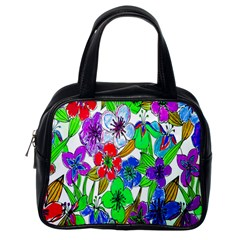 Background Of Hand Drawn Flowers With Green Hues Classic Handbags (One Side)