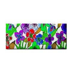 Background Of Hand Drawn Flowers With Green Hues Cosmetic Storage Cases