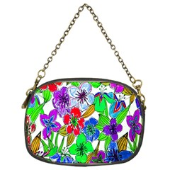 Background Of Hand Drawn Flowers With Green Hues Chain Purses (Two Sides)