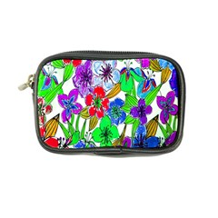 Background Of Hand Drawn Flowers With Green Hues Coin Purse