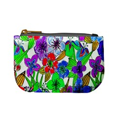 Background Of Hand Drawn Flowers With Green Hues Mini Coin Purses