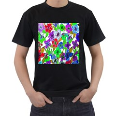 Background Of Hand Drawn Flowers With Green Hues Men s T-Shirt (Black)