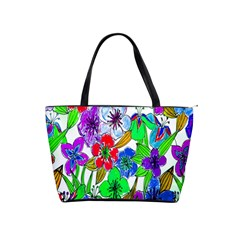 Background Of Hand Drawn Flowers With Green Hues Shoulder Handbags
