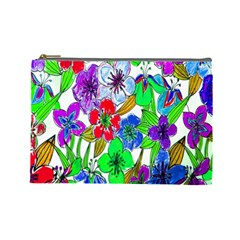 Background Of Hand Drawn Flowers With Green Hues Cosmetic Bag (large)