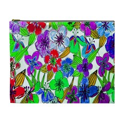 Background Of Hand Drawn Flowers With Green Hues Cosmetic Bag (XL)