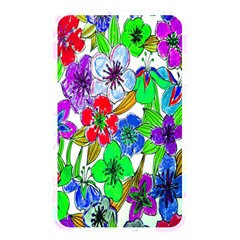 Background Of Hand Drawn Flowers With Green Hues Memory Card Reader