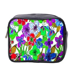 Background Of Hand Drawn Flowers With Green Hues Mini Toiletries Bag 2-Side
