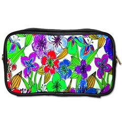 Background Of Hand Drawn Flowers With Green Hues Toiletries Bags