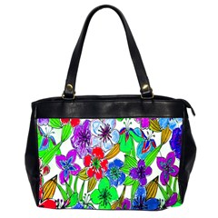 Background Of Hand Drawn Flowers With Green Hues Office Handbags (2 Sides)