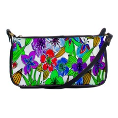 Background Of Hand Drawn Flowers With Green Hues Shoulder Clutch Bags