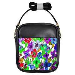 Background Of Hand Drawn Flowers With Green Hues Girls Sling Bags