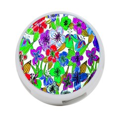 Background Of Hand Drawn Flowers With Green Hues 4-Port USB Hub (Two Sides)