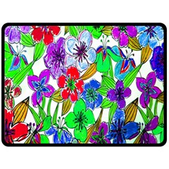 Background Of Hand Drawn Flowers With Green Hues Fleece Blanket (Large)